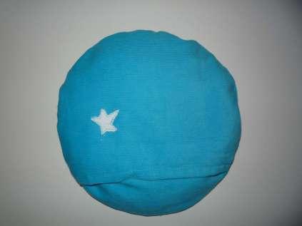 großes blaues Kirschkern-Monster Rückseite mit Stern und Hotelverschluss
